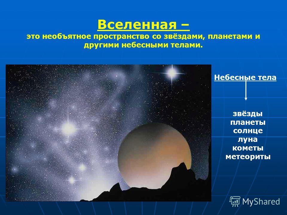 Вселенная – это необъятное пространство со звёздами, планетами и другими небесными телами. Небесные тела звёзды планеты солнце луна кометы метеориты