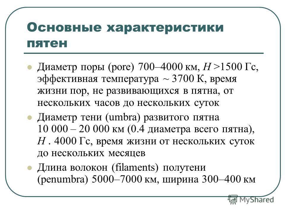 Основные характеристики пятен Диаметр поры (pore) 700–4000 км, H >1500 Гс, эффективная температура ~ 3700 К, время жизни пор, не развивающихся в пятна, от нескольких часов до нескольких суток Диаметр тени (umbra) развитого пятна 10 000 – 20 000 км (0