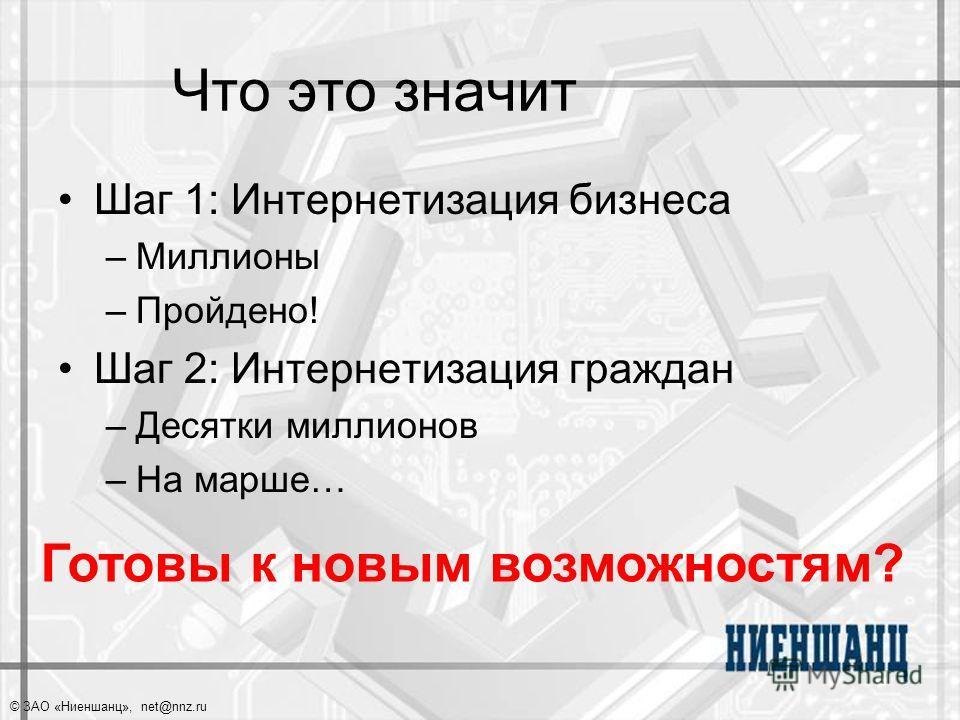 © ЗАО «Ниеншанц», net@nnz.ru Что это значит Шаг 1: Интернетизация бизнеса –Миллионы –Пройдено! Шаг 2: Интернетизация граждан –Десятки миллионов –На марше… Готовы к новым возможностям?