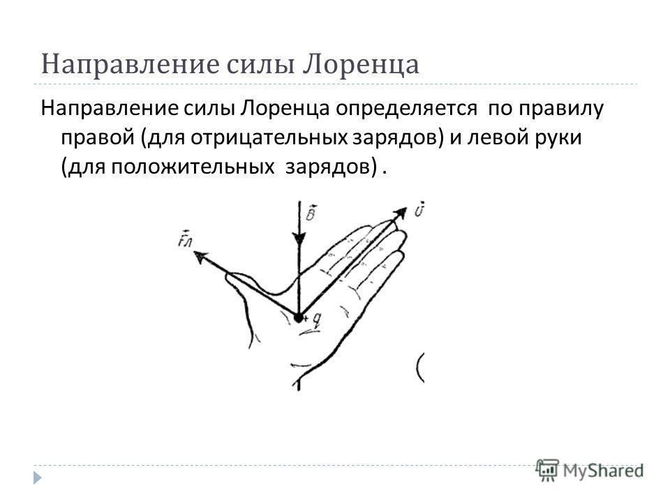 Направление силы Лоренца Направление силы Лоренца определяется по правилу правой ( для отрицательных зарядов ) и левой руки ( для положительных зарядов ).