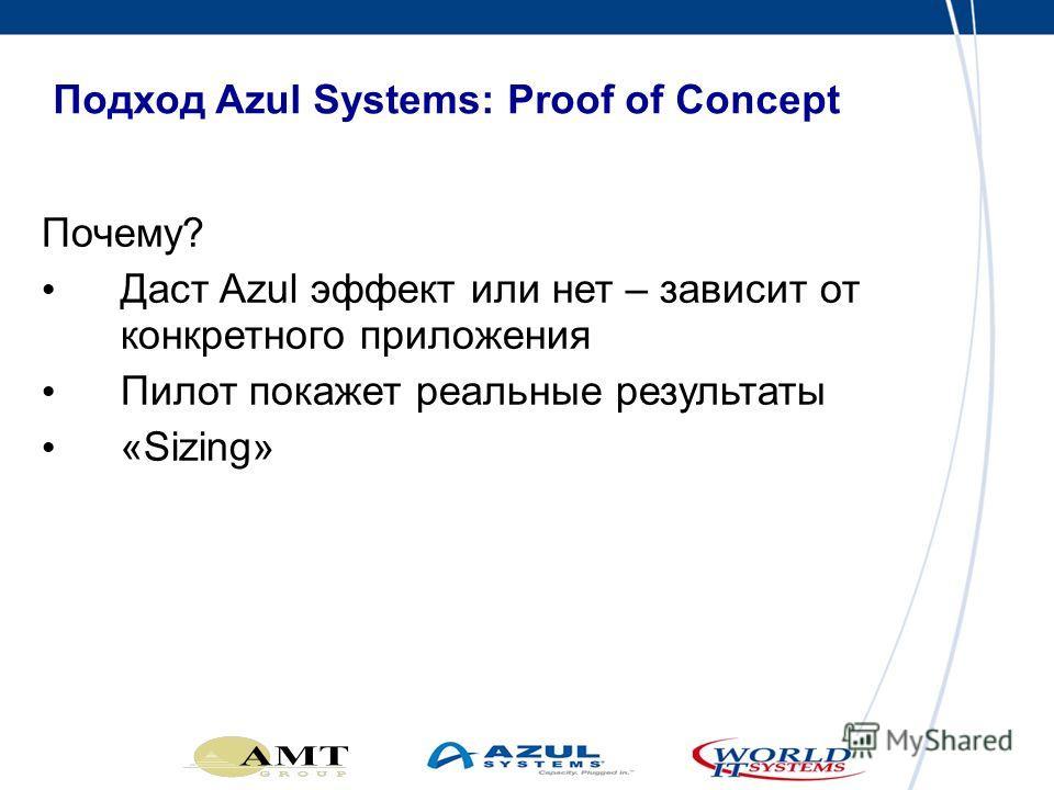 Подход Azul Systems: Proof of Concept Почему? Даст Azul эффект или нет – зависит от конкретного приложения Пилот покажет реальные результаты «Sizing»