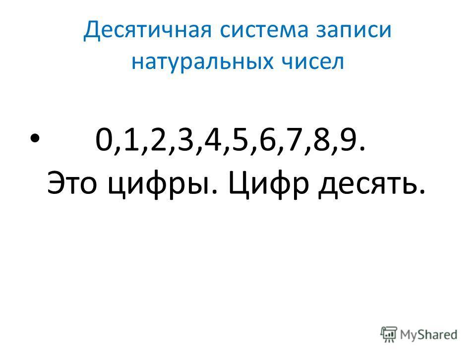 Десятичная система записи натуральных чисел 0,1,2,3,4,5,6,7,8,9. Это цифры. Цифр десять.