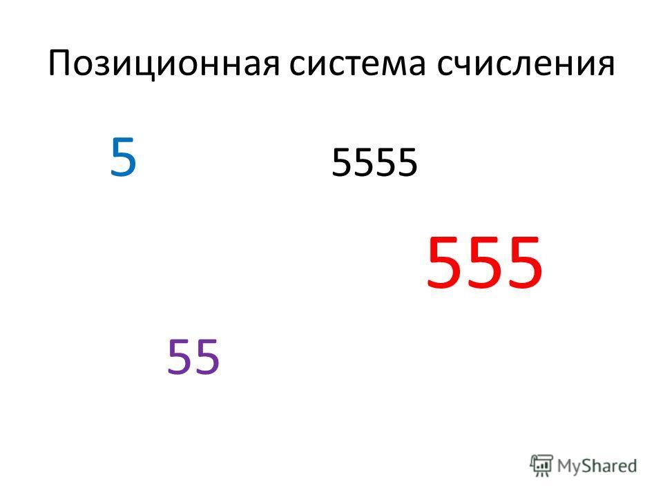 Позиционная система счисления 5 5555 555 55