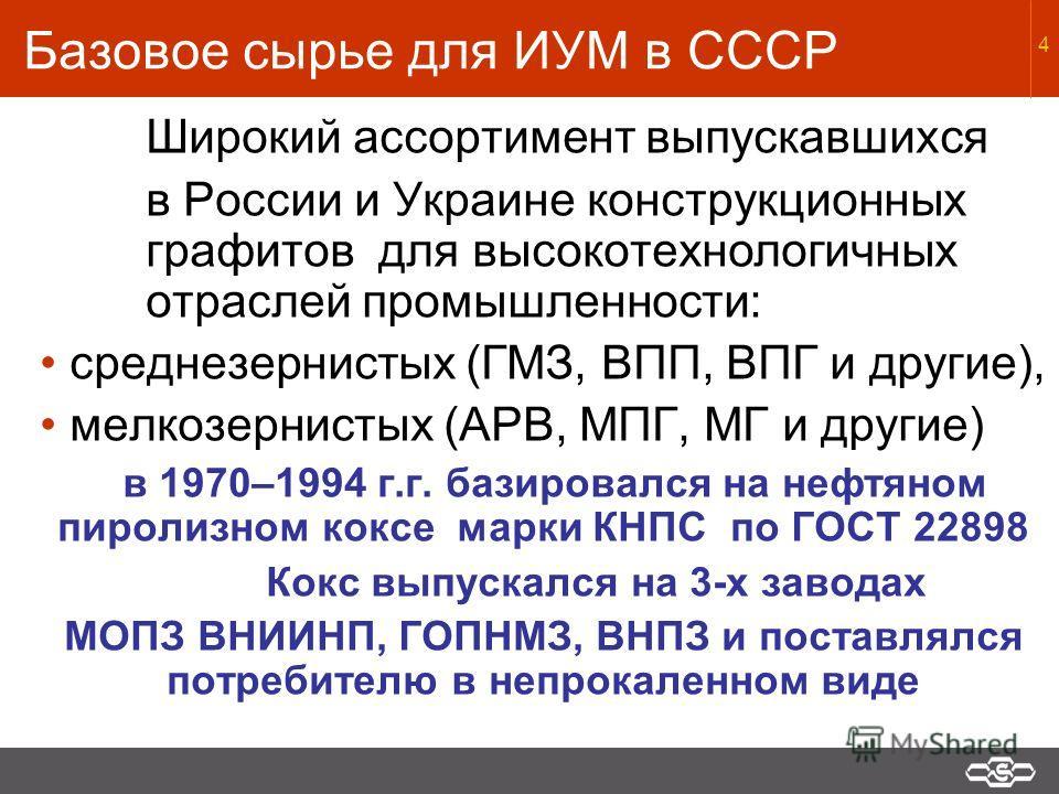 4 Базовое сырье для ИУМ в СССР Широкий ассортимент выпускавшихся в России и Украине конструкционных графитов для высокотехнологичных отраслей промышленности: среднезернистых (ГМЗ, ВПП, ВПГ и другие), мелкозернистых (АРВ, МПГ, МГ и другие) в 1970–1994