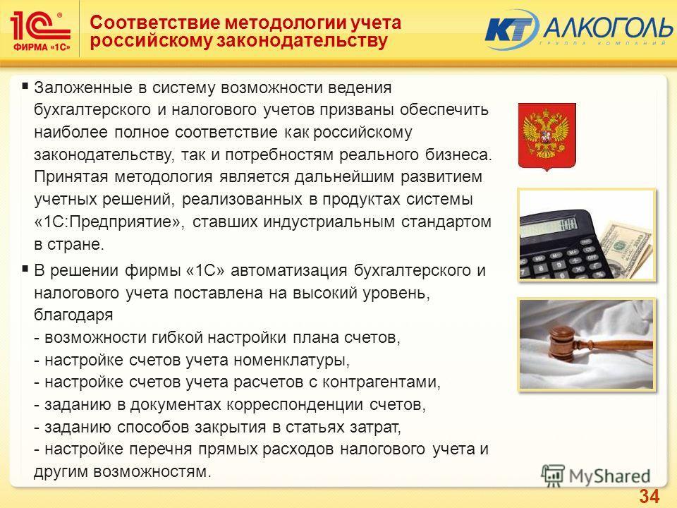 34 Соответствие методологии учета российскому законодательству Заложенные в систему возможности ведения бухгалтерского и налогового учетов призваны обеспечить наиболее полное соответствие как российскому законодательству, так и потребностям реального