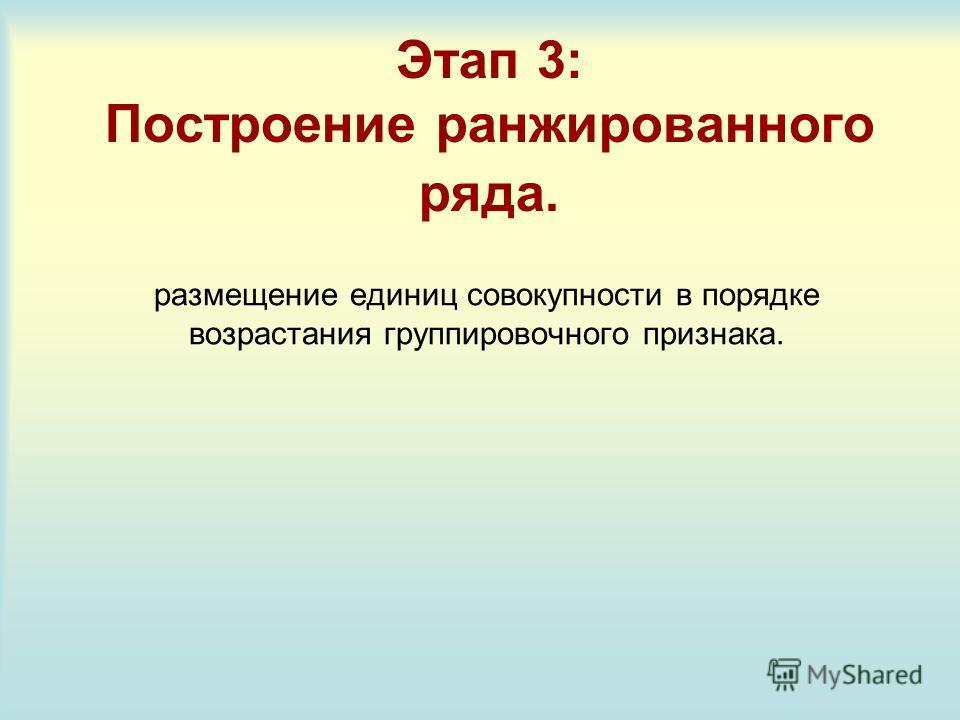 Этап 3: Построение ранжированного ряда. размещение единиц совокупности в порядке возрастания группировочного признака.