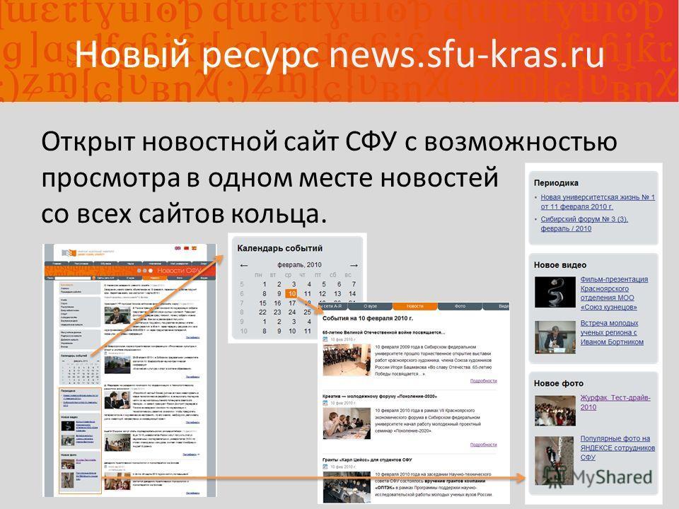 Новый ресурс news.sfu-kras.ru Открыт новостной сайт СФУ с возможностью просмотра в одном месте новостей со всех сайтов кольца.