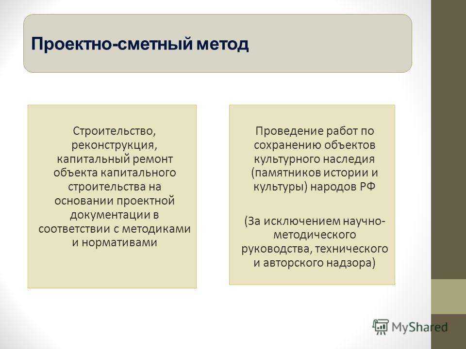 Проектно-сметный метод Строительство, реконструкция, капитальный ремонт объекта капитального строительства на основании проектной документации в соответствии с методиками и нормативами Проведение работ по сохранению объектов культурного наследия (пам