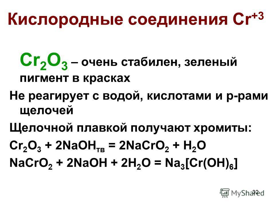 32 Кислородные соединения Cr +3 Cr 2 O 3 – очень стабилен, зеленый пигмент в красках Не реагирует с водой, кислотами и р-рами щелочей Щелочной плавкой получают хромиты: Cr 2 O 3 + 2NaOH тв = 2NaCrO 2 + H 2 O NaCrO 2 + 2NaOH + 2H 2 O = Na 3 [Cr(OH) 6