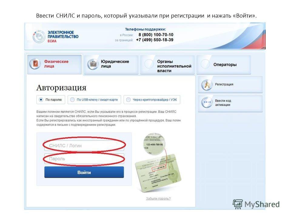 Ввести СНИЛС и пароль, который указывали при регистрации и нажать «Войти».