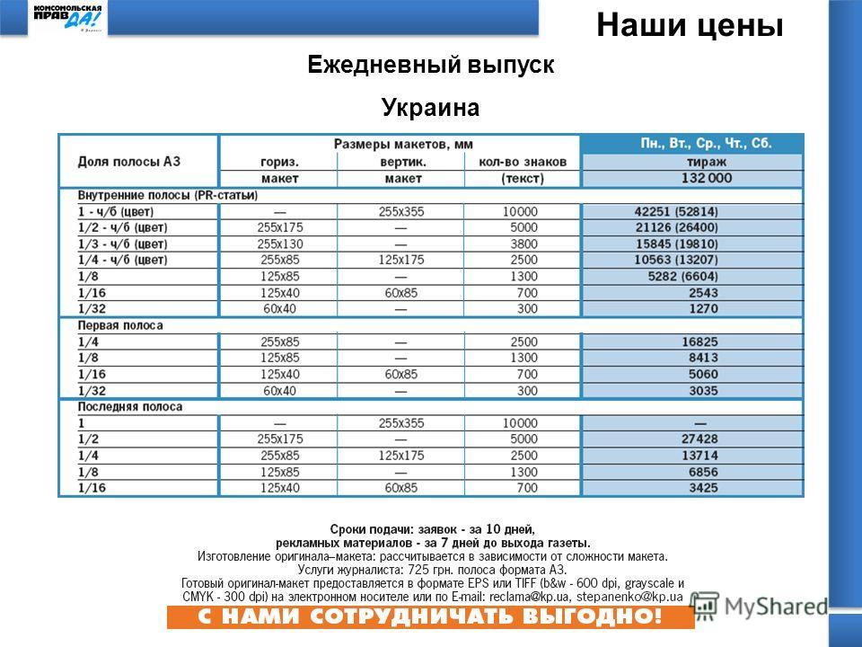 Наши цены Ежедневный выпуск Украина