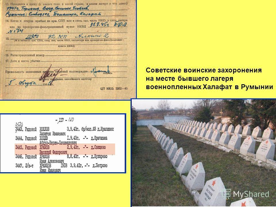 Советские воинские захоронения на месте бывшего лагеря военнопленных Халафат в Румынии