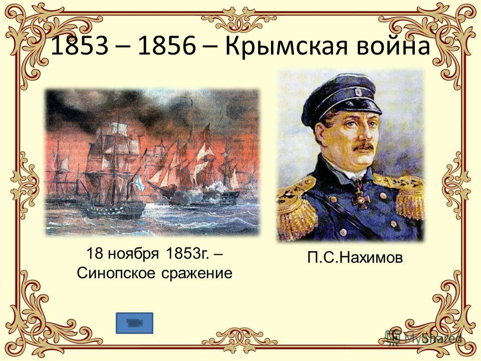 1853 – 1856 – Крымская война П.С.Нахимов 18 ноября 1853г. – Синопское сражение