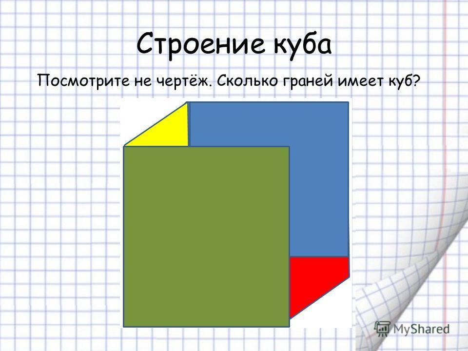 Строение куба Посмотрите не чертёж. Сколько граней имеет куб?