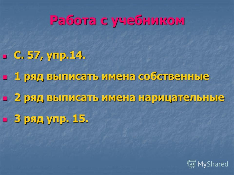 Работа с учебником С. 57, упр.14. С. 57, упр.14. 1 ряд выписать имена собственные 1 ряд выписать имена собственные 2 ряд выписать имена нарицательные 2 ряд выписать имена нарицательные 3 ряд упр. 15. 3 ряд упр. 15.