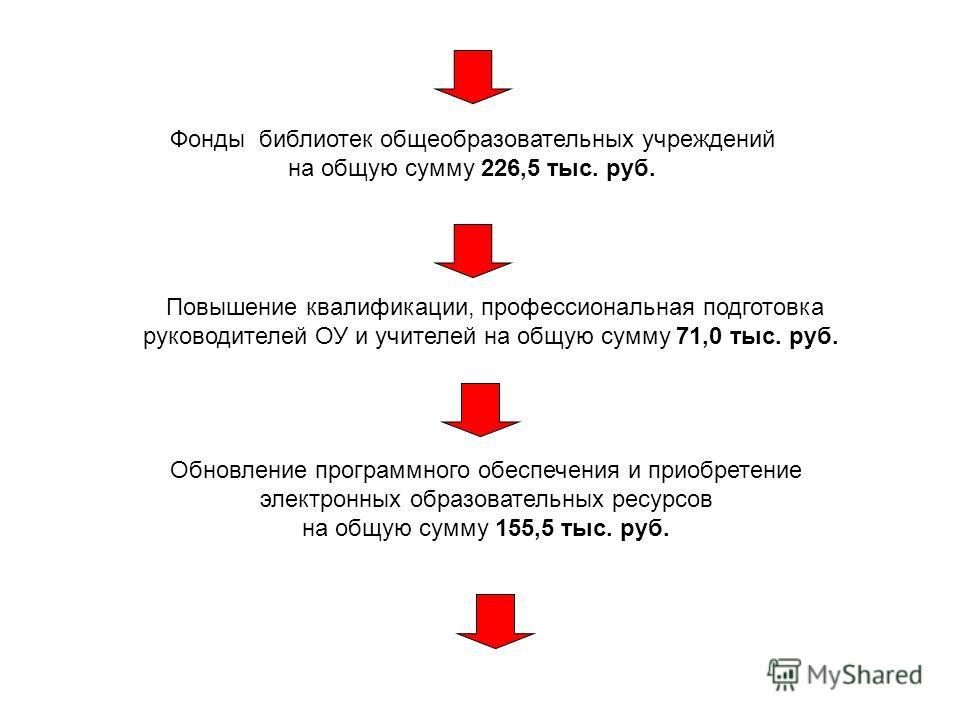 Фонды библиотек общеобразовательных учреждений на общую сумму 226,5 тыс. руб. Повышение квалификации, профессиональная подготовка руководителей ОУ и учителей на общую сумму 71,0 тыс. руб. Обновление программного обеспечения и приобретение электронных
