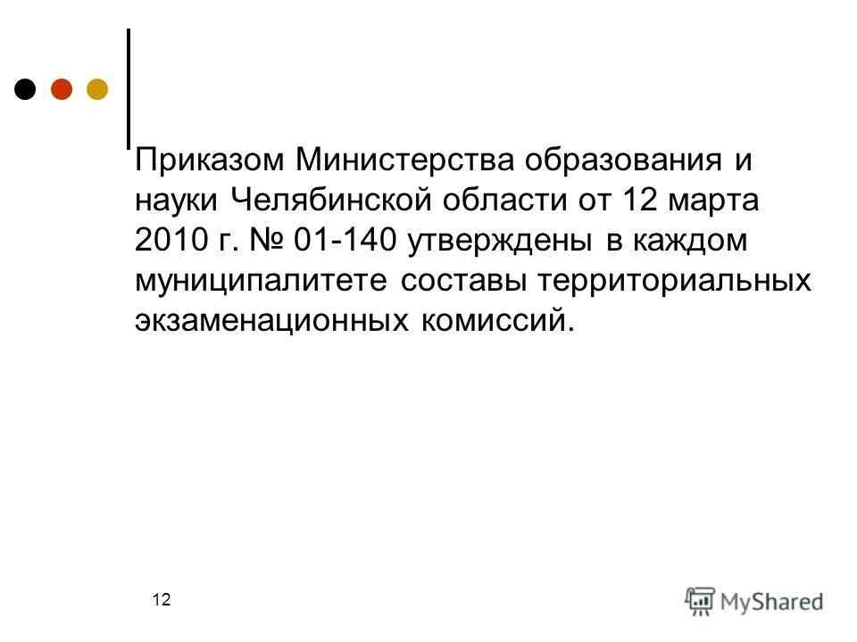Приказом Министерства образования и науки Челябинской области от 12 марта 2010 г. 01-140 утверждены в каждом муниципалитете составы территориальных экзаменационных комиссий. 12