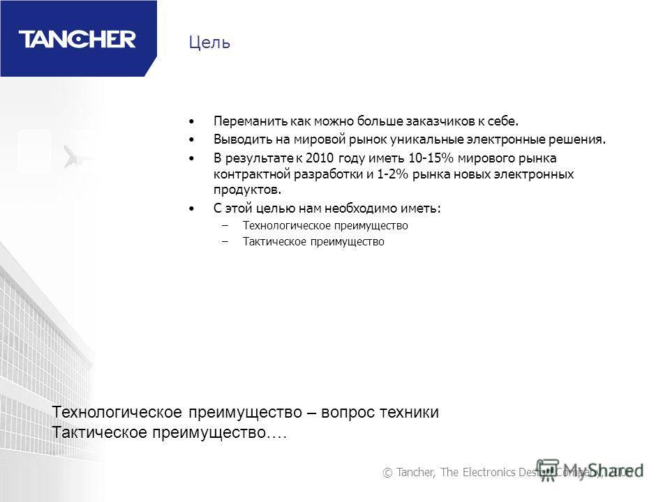 © Tancher, The Electronics Design Company, 2006 Цель Переманить как можно больше заказчиков к себе. Выводить на мировой рынок уникальные электронные решения. В результате к 2010 году иметь 10-15% мирового рынка контрактной разработки и 1-2% рынка нов