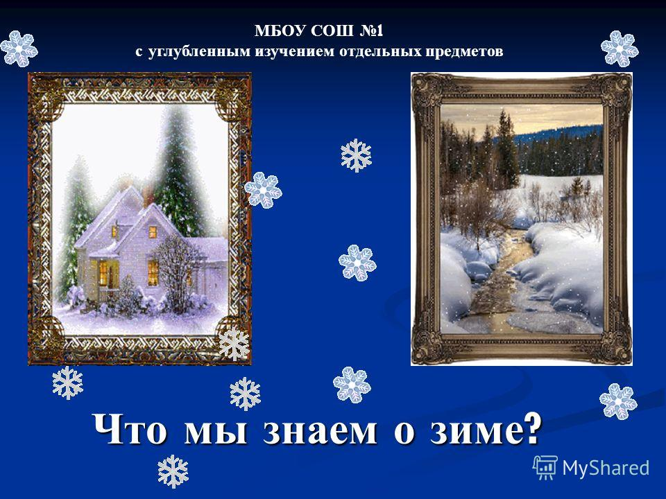 Что мы знаем о зиме ? МБОУ СОШ 1 с углубленным изучением отдельных предметов
