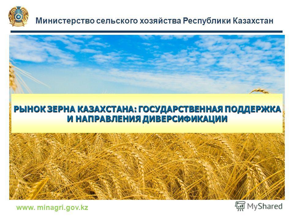 Министерство сельского хозяйства Республики Казахстан www. minagri.gov.kz РЫНОК ЗЕРНА КАЗАХСТАНА: ГОСУДАРСТВЕННАЯ ПОДДЕРЖКА И НАПРАВЛЕНИЯ ДИВЕРСИФИКАЦИИ