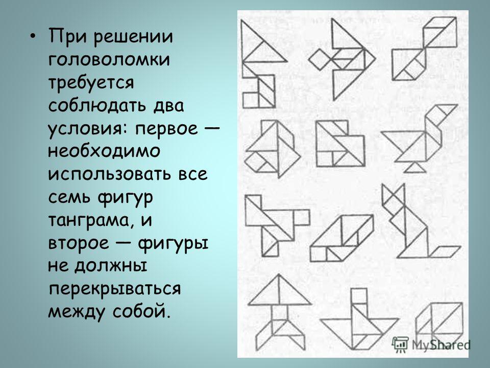 При решении головоломки требуется соблюдать два условия: первое необходимо использовать все семь фигур танграма, и второе фигуры не должны перекрываться между собой.
