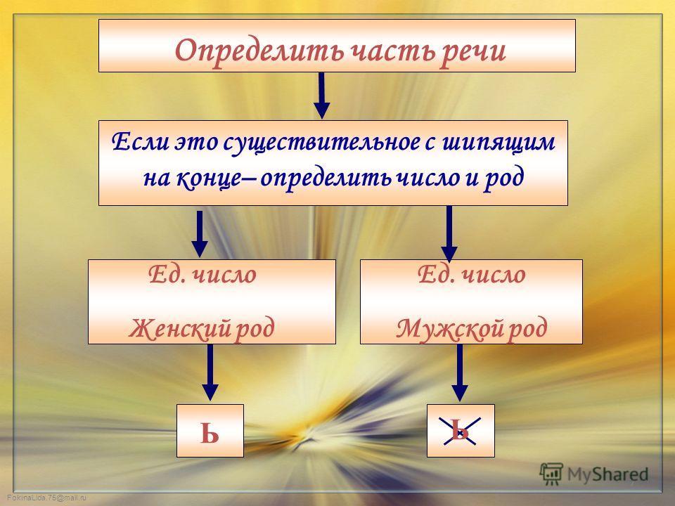 Определить часть речи Ед. число Женский род Ед. число Мужской род Ь Если это существительное с шипящим на конце– определить число и род Ь 7