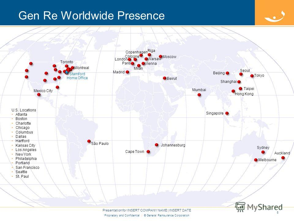 Proprietary and Confidential | © General Reinsurance Corporation Gen Re Worldwide Presence 5 Presentation for INSERT COMPANY NAME | INSERT DATE São Paulo Cape Town Johannesburg Melbourne Sydney Auckland Beijing Singapore Hong Kong Taipei Shanghai Tok