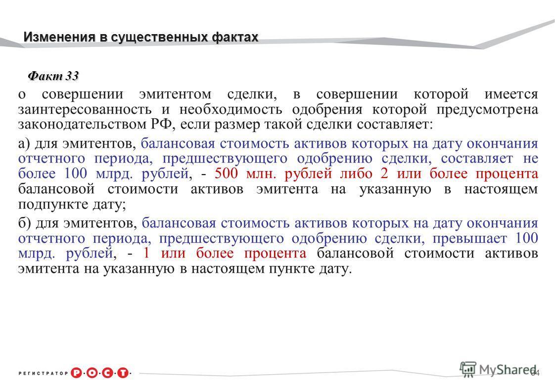 Изменения в существенных фактах Изменения в существенных фактах Факт 33 Факт 33 о совершении эмитентом сделки, в совершении которой имеется заинтересованность и необходимость одобрения которой предусмотрена законодательством РФ, если размер такой сде