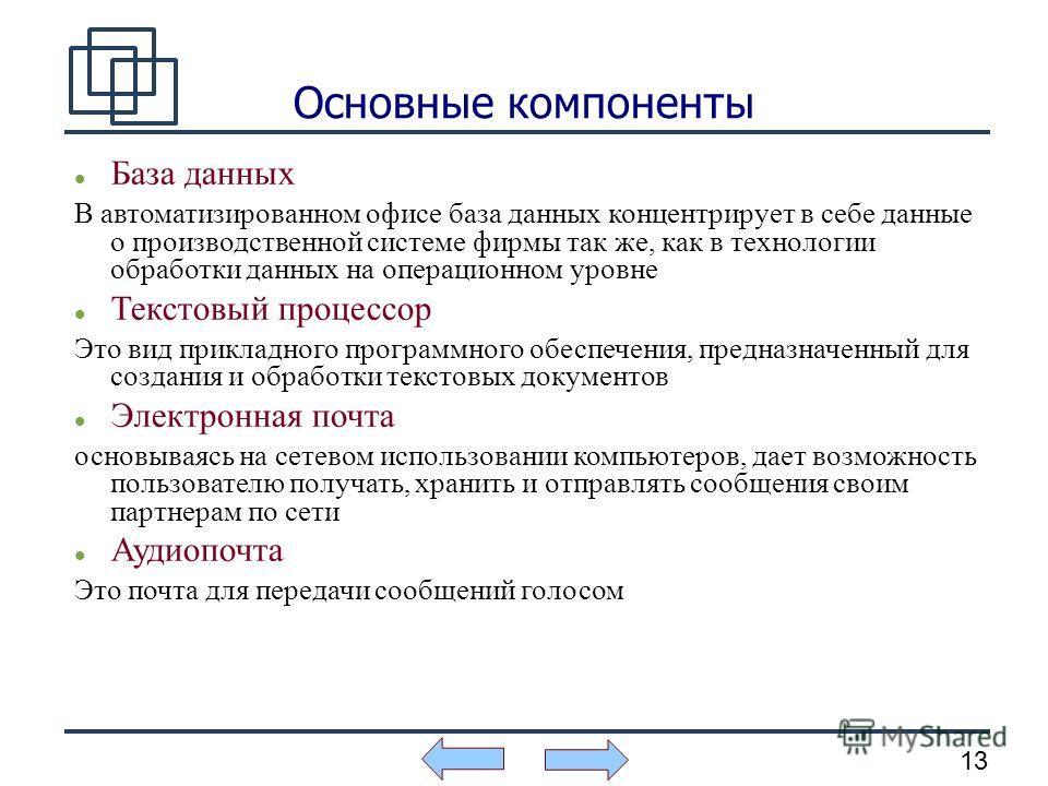 13 Основные компоненты База данных В автоматизированном офисе база данных концентрирует в себе данные о производственной системе фирмы так же, как в технологии обработки данных на операционном уровне Текстовый процессор Это вид прикладного программно