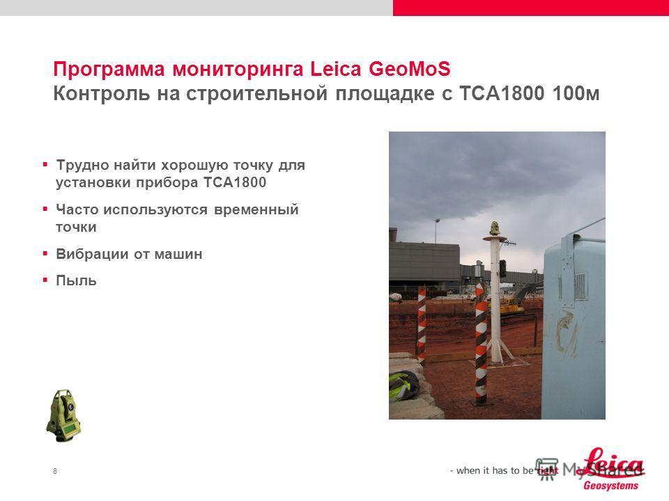 8 Программа мониторинга Leica GeoMoS Контроль на строительной площадке с TCA1800 100м Трудно найти хорошую точку для установки прибора TCA1800 Часто используются временный точки Вибрации от машин Пыль