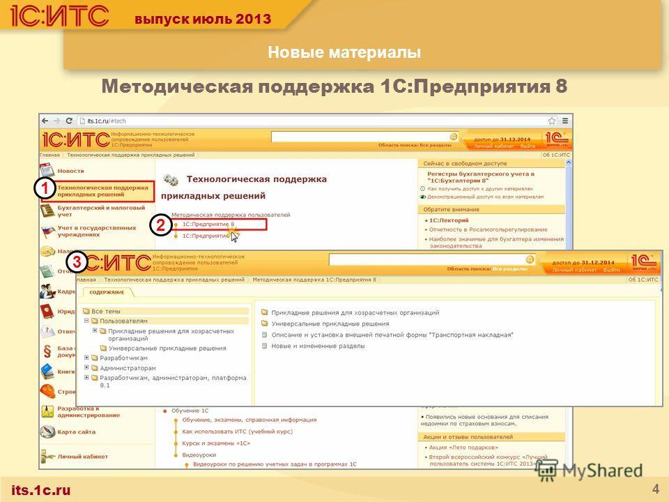 its.1c.ru 4 выпуск июль 2013 Новые материалы 1 2 Методическая поддержка 1С:Предприятия 8 3