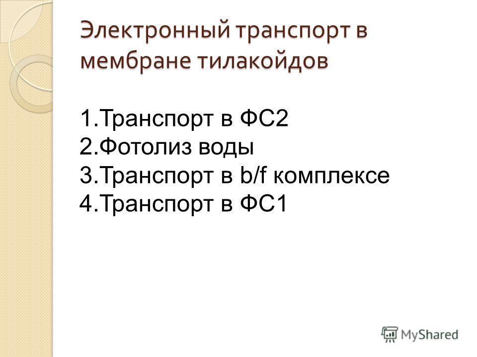 Электронный транспорт в мембране тилакойдов 1.Транспорт в ФС2 2.Фотолиз воды 3.Транспорт в b/f комплексе 4.Транспорт в ФС1