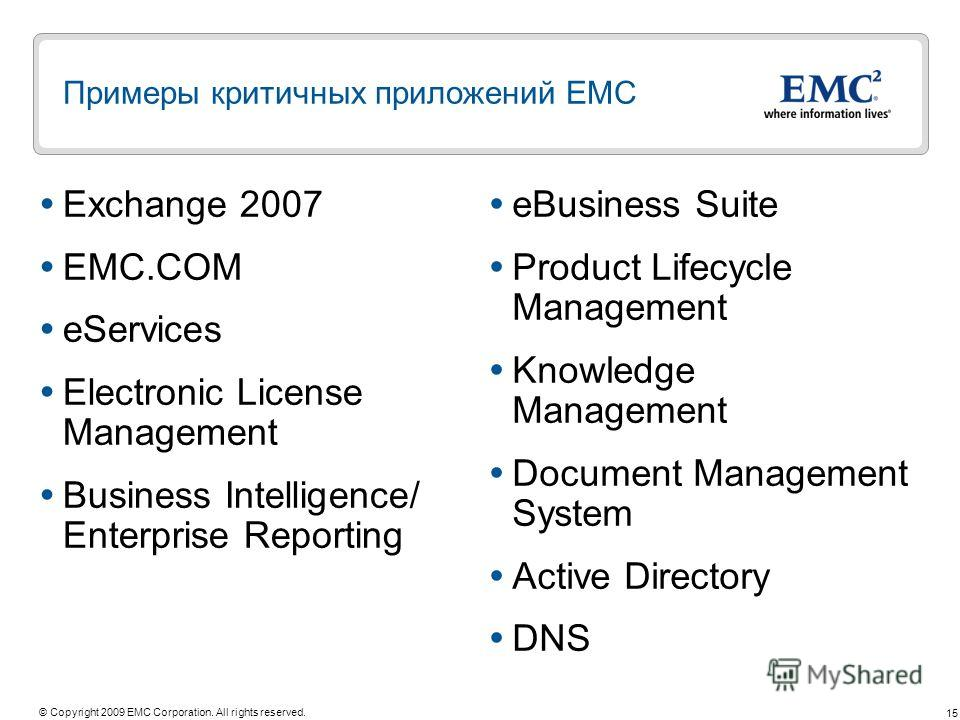 15 © Copyright 2009 EMC Corporation. All rights reserved. Примеры критичных приложений ЕМС Exchange 2007 EMC.COM eServices Electronic License Management Business Intelligence/ Enterprise Reporting eBusiness Suite Product Lifecycle Management Knowledg