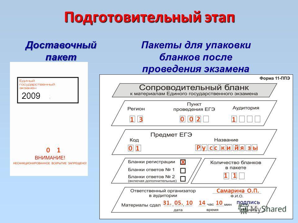 Подготовительный этап Доставочный пакет Пакеты для упаковки бланков после проведения экзамена 2009 1 3 0 0 2 1 0 1 Р у с с к и й я з ы Х 1 Самарина О.П. 31. 05. 10 14 10 0 1 подпись