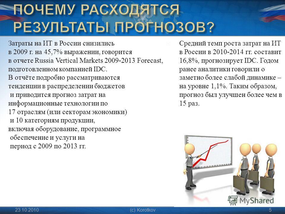 Средний темп роста затрат на ИТ в России в 2010-2014 гг. составит 16,8%, прогнозирует IDC. Годом ранее аналитики говорили о заметно более слабой динамике – на уровне 1,1%. Таким образом, прогноз был улучшен более чем в 15 раз. 23.10.2010(c) Korotkov5