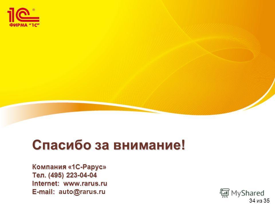 Спасибо за внимание! Компания «1С-Рарус» Тел. (495) 223-04-04 Internet: www.rarus.ru E-mail: Спасибо за внимание! Компания «1С-Рарус» Тел. (495) 223-04-04 Internet: www.rarus.ru E-mail: auto@rarus.ru 34 из 35