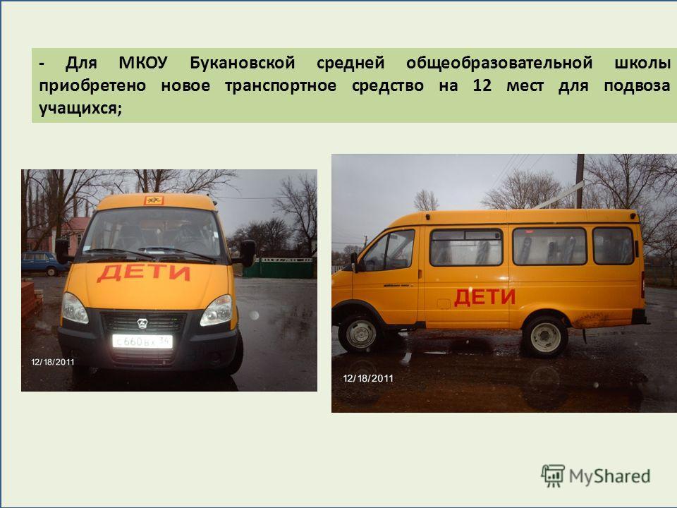 - Для МКОУ Букановской средней общеобразовательной школы приобретено новое транспортное средство на 12 мест для подвоза учащихся;