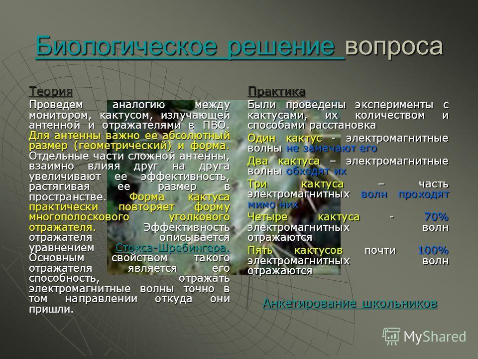 Биологическое решение вопроса Теория Проведем аналогию между монитором, кактусом, излучающей антенной и отражателями в ПВО. Для антенны важно ее абсолютный размер (геометрический) и форма. Отдельные Отдельные части сложной антенны, взаимно влияя друг