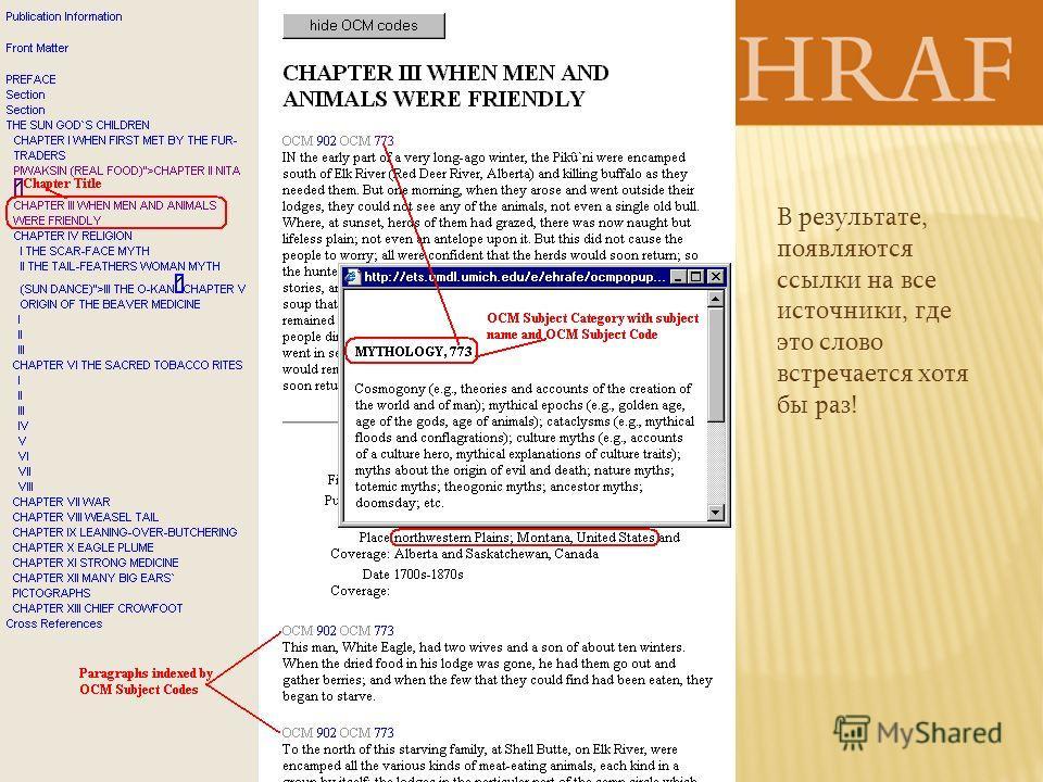 В результате, появляются ссылки на все источники, где это слово встречается хотя бы раз!