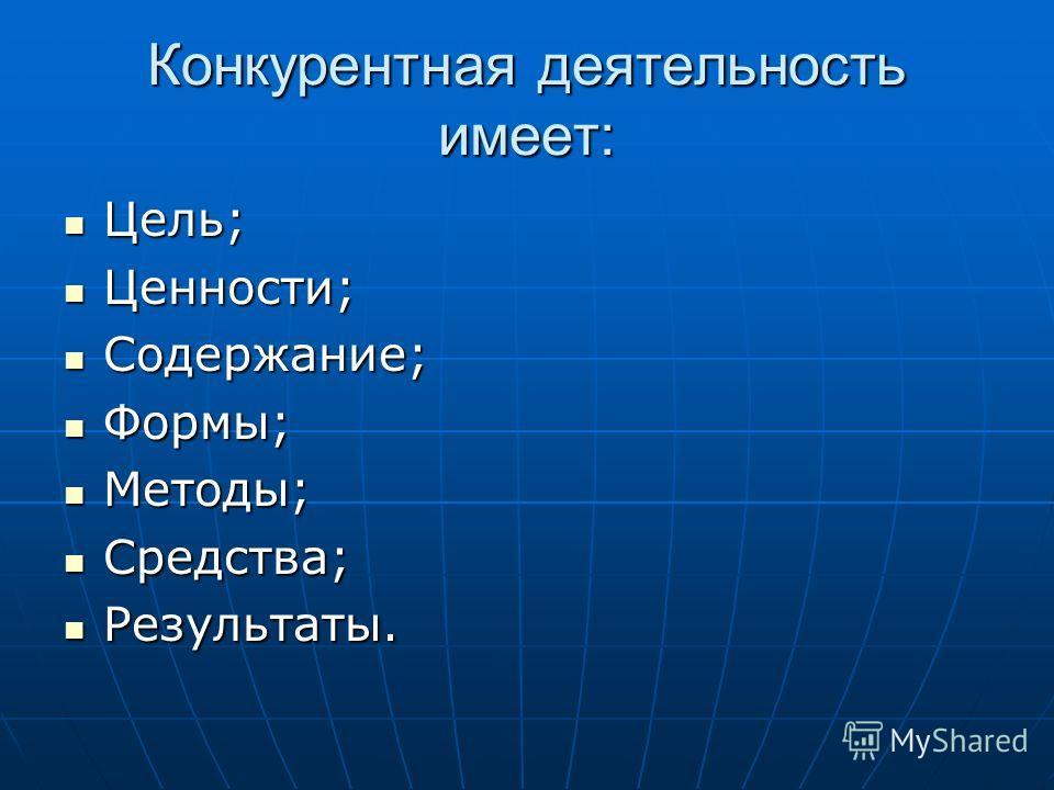 Конкурентная деятельность имеет: Цель; Цель; Ценности; Ценности; Содержание; Содержание; Формы; Формы; Методы; Методы; Средства; Средства; Результаты. Результаты.