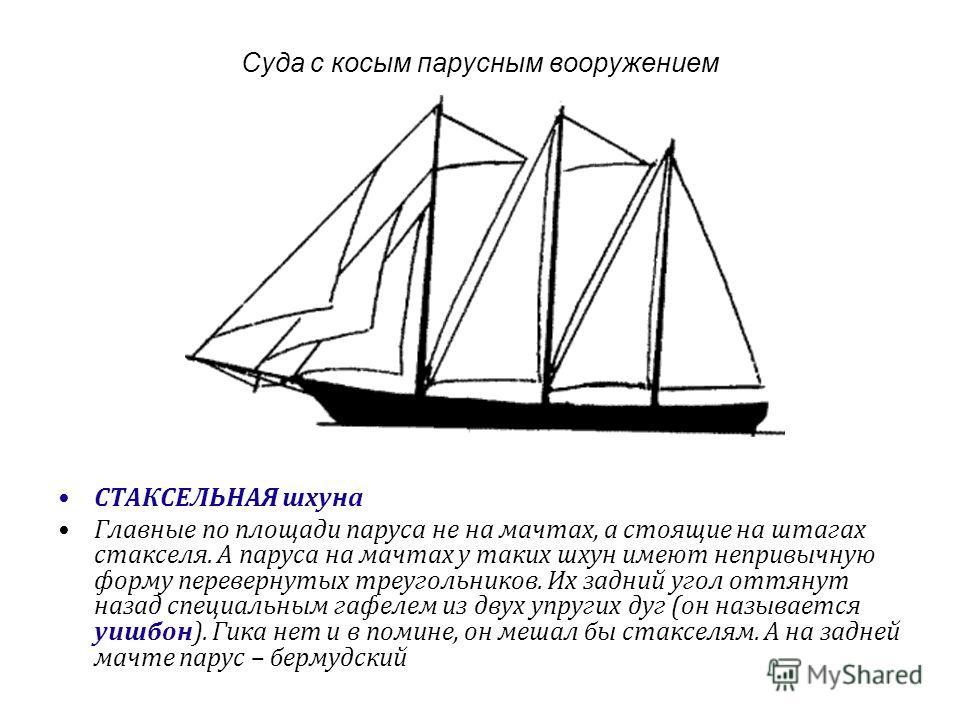 Суда с косым парусным вооружением СТАКСЕЛЬНАЯ шхуна Главные по площади паруса не на мачтах, а стоящие на штагах стакселя. А паруса на мачтах у таких шхун имеют непривычную форму перевернутых треугольников. Их задний угол оттянут назад специальным гаф