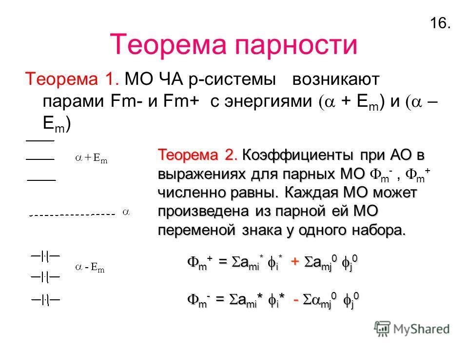 Теорема парности Теорема 1. МО ЧА p-системы возникают парами Fm- и Fm+ с энергиями + E m ) и – E m ) Теорема 2. Коэффициенты при АО в выражениях для парных МО выражениях для парных МО m -, m + численно равны. Каждая МО может произведена из парной ей