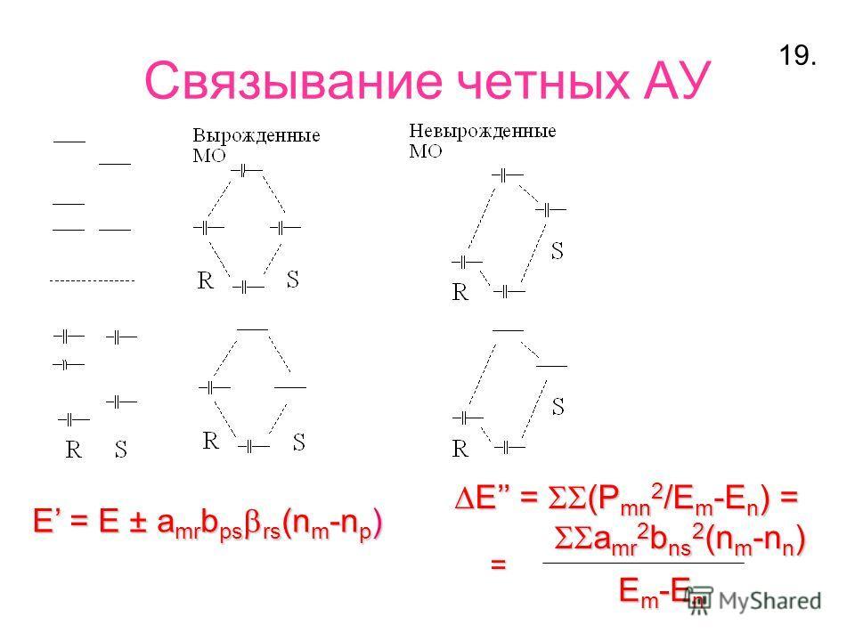 Связывание четных АУ E = E ± a mr b ps rs (n m -n p ) E = (P mn 2 /E m -E n ) = E = (P mn 2 /E m -E n ) = a mr 2 b ns 2 (n m -n n ) a mr 2 b ns 2 (n m -n n ) E m -E n = 19.