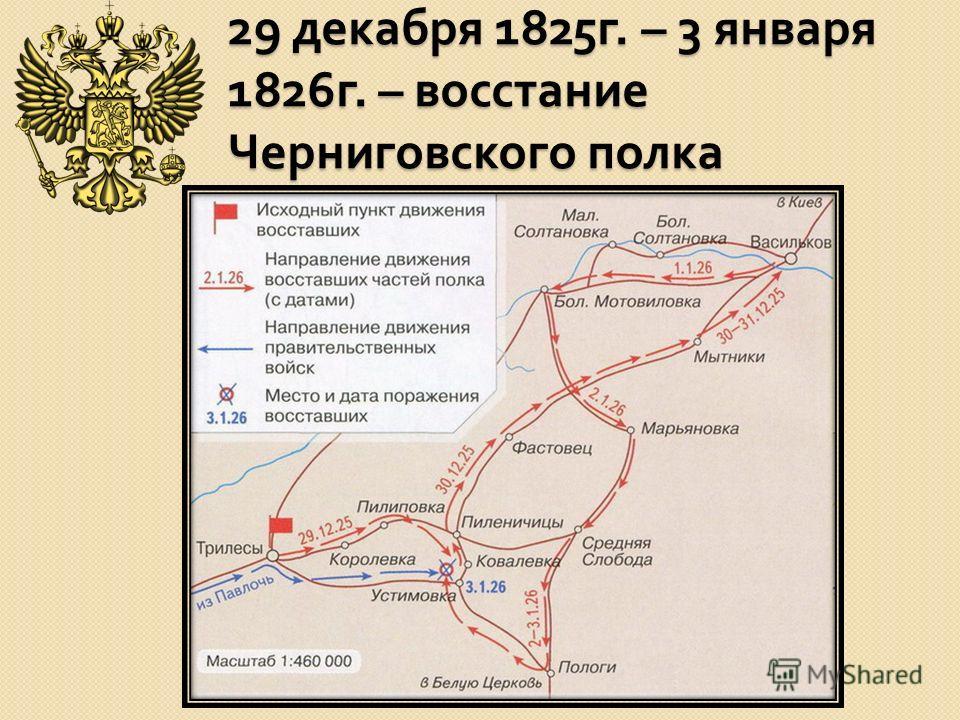 29 декабря 1825 г. – 3 января 1826 г. – восстание Черниговского полка