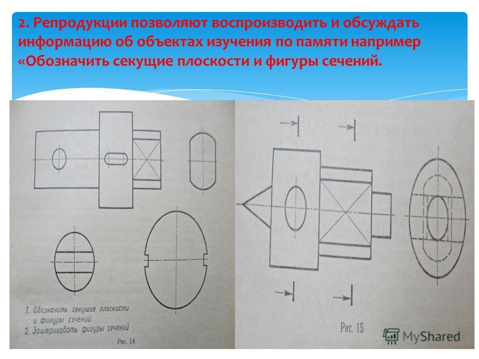 2. Репродукции позволяют воспроизводить и обсуждать информацию об объектах изучения по памяти например «Обозначить секущие плоскости и фигуры сечений.