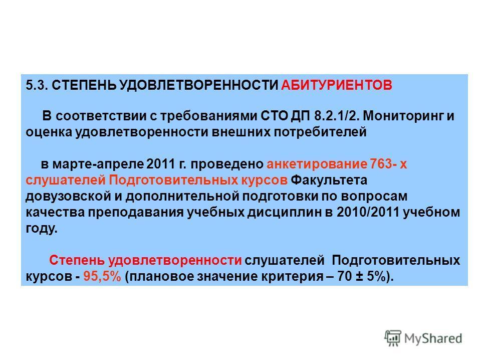 5.3. СТЕПЕНЬ УДОВЛЕТВОРЕННОСТИ АБИТУРИЕНТОВ В соответствии с требованиями СТО ДП 8.2.1/2. Мониторинг и оценка удовлетворенности внешних потребителей в марте-апреле 2011 г. проведено анкетирование 763- х слушателей Подготовительных курсов Факультета д