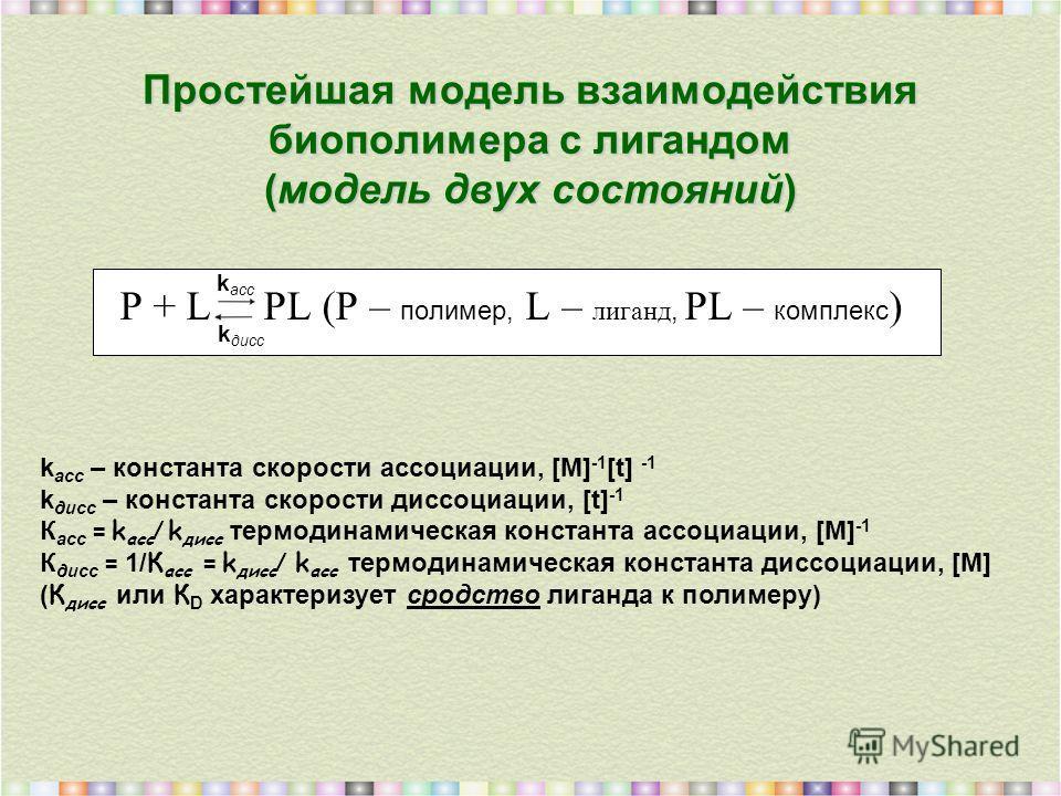 Простейшая модель взаимодействия биополимера с лигандом (модель двух состояний) P + L PL (P – полимер, L – лиганд, PL – комплекс ) k асс k асс – константа скорости ассоциации, [M] -1 [t] -1 k дисс – константа скорости диссоциации, [t] -1 К асс = k ас