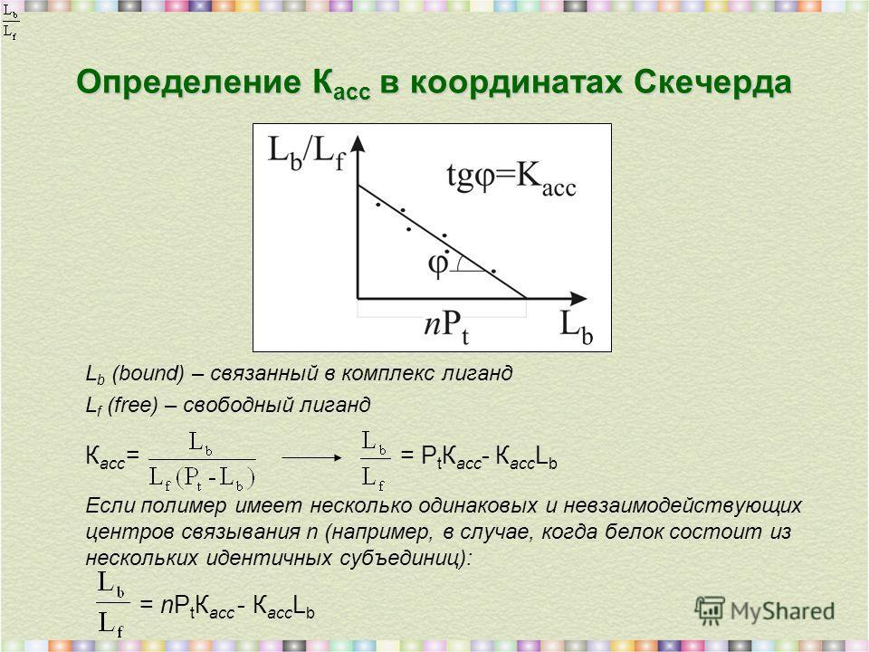 Определение К асс в координатах Скечерда L b (bound) – связанный в комплекс лиганд L f (free) – свободный лиганд К асс == P t К асс - К асс L b Если полимер имеет несколько одинаковых и невзаимодействующих центров связывания n (например, в случае, ко