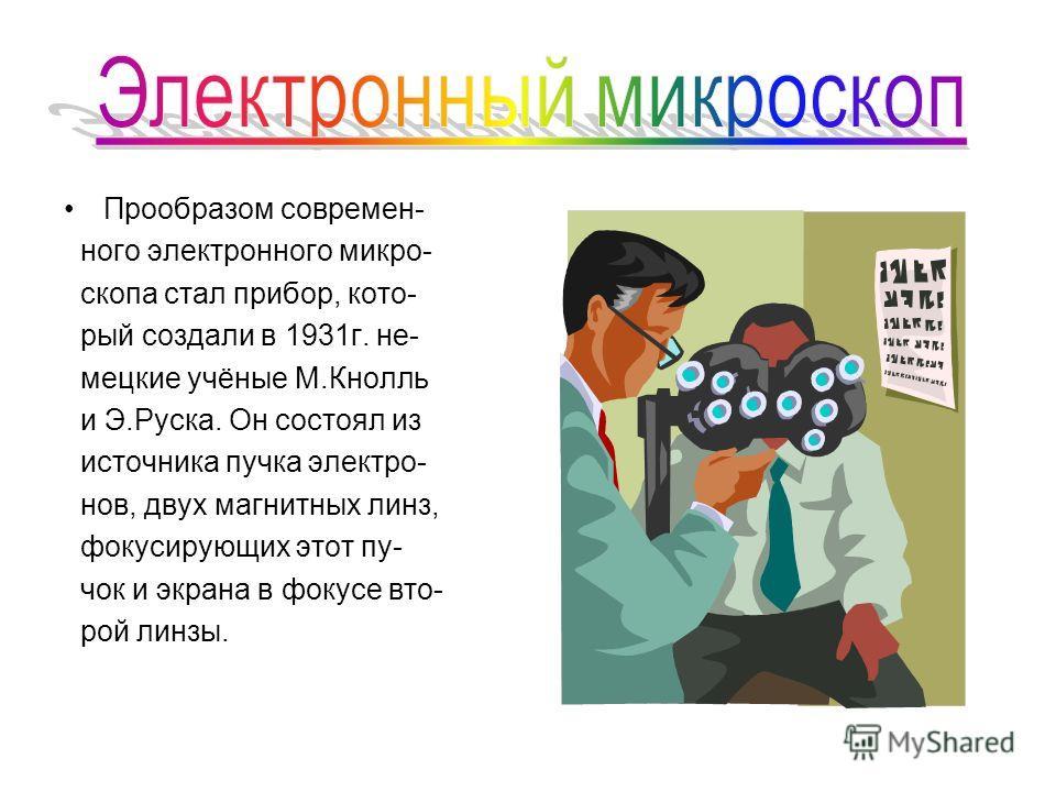 Прообразом современ- ного электронного микро- скопа стал прибор, кото- рый создали в 1931г. не- мецкие учёные М.Кнолль и Э.Руска. Он состоял из источника пучка электро- нов, двух магнитных линз, фокусирующих этот пу- чок и экрана в фокусе вто- рой ли