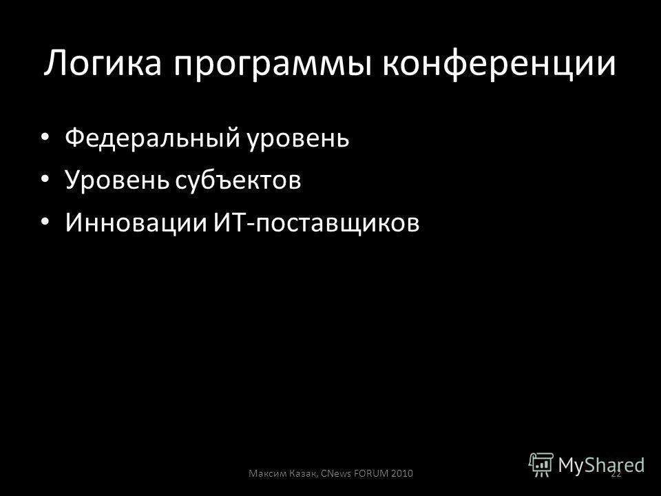 Логика программы конференции Федеральный уровень Уровень субъектов Инновации ИТ-поставщиков Максим Казак, CNews FORUM 201022